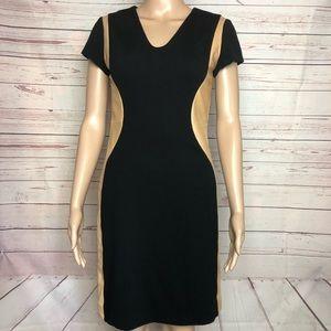 DVF Bodycon Leather Trim Dress Size 4